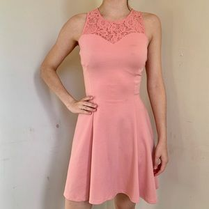 Fitted Pink Dress With Lace Detail